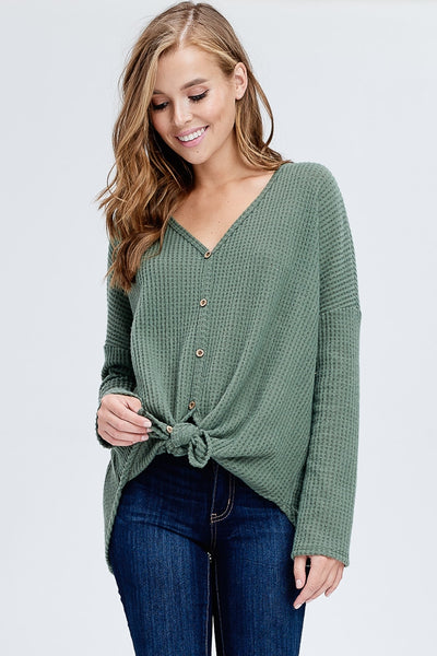 Button Up Front Tie Sweater