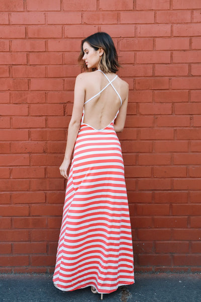 Backless Chevron Printed Maxi Dress