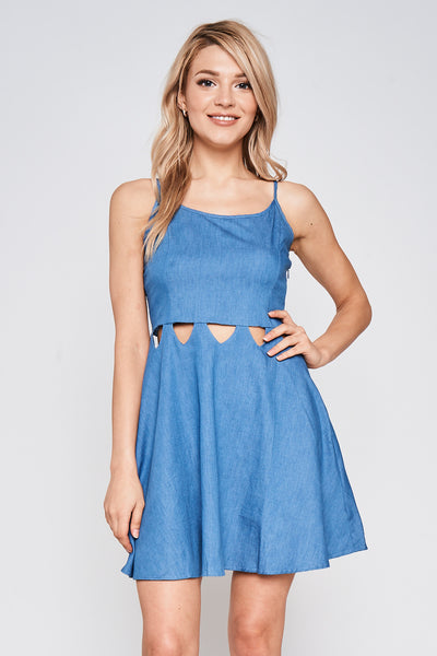Rhea - Spaghetti Strap Cut Out Mini Dress