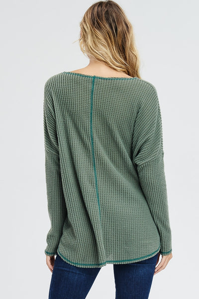 Vintage V-Neck Ribbed Burnout Knit Sweater