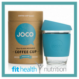 Joco Reusable Glass Coffee Cup 12oz Blue