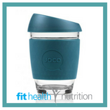 Joco Reusable Glass Coffee Cup 12oz Deep Teal
