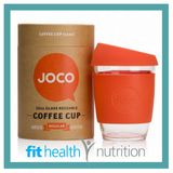 Joco Reusable Glass Coffee Cup 12oz Orange