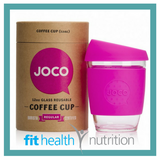 Joco Reusable Glass Coffee Cup 12oz Pink