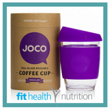 Joco Reusable Glass Coffee Cup 12oz Purple