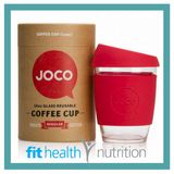Joco Reusable Glass Coffee Cup 12oz Red