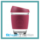 Joco Reusable Glass Coffee Cup 12oz Ruby Wine