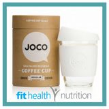 Joco Reusable Glass Coffee Cup 12oz White