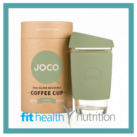 Joco Reusable Glass Coffee Cup 16oz Army Green