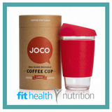 Joco Reusable Glass Coffee Cup 16oz Red