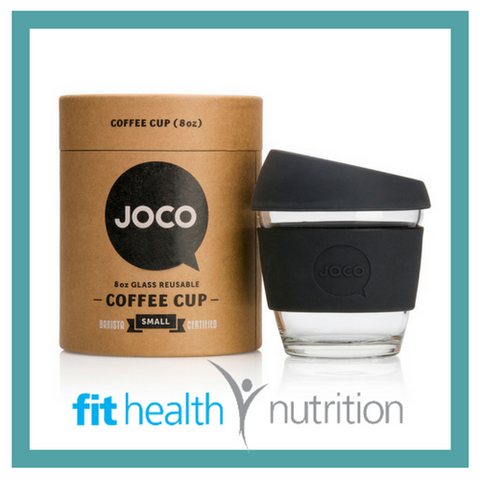 Joco Reusable Glass Coffee Cup 8oz Black
