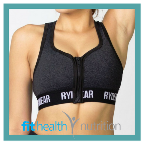 Ryderwear Zip Front Sports Bra Crop Top Charcoal