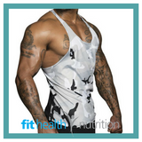 Ryderwear Mens Commando Mesh T Back Singlet White Camo