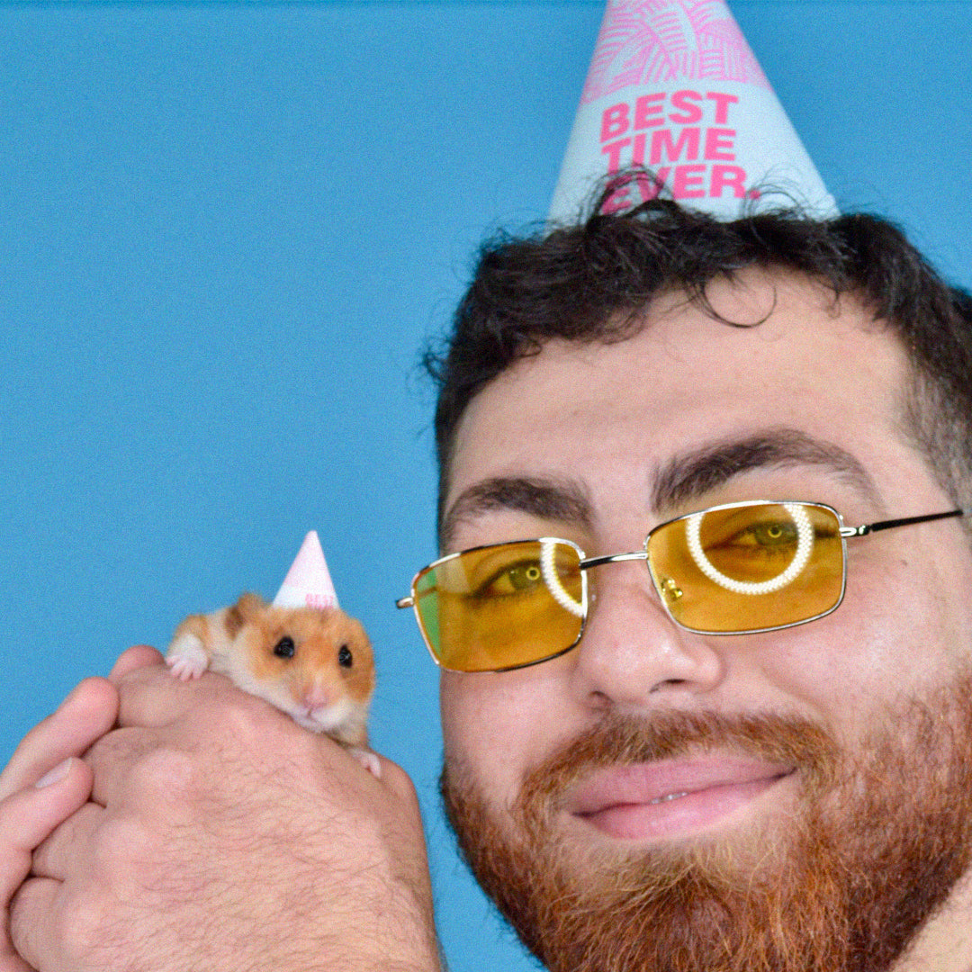 Party Flvrs. adult party hats—and sometimes hamster party hats.