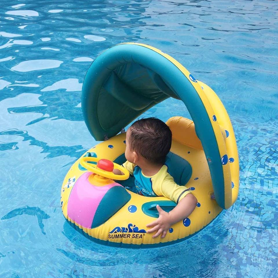 SummerSea Inflatable Water Floaty - Baby Pool Float - Peach and Pumpkins