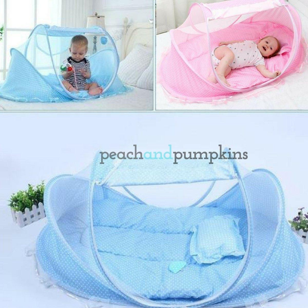 Portable Baby Tent with Mosquito Net | Baby Mosquito Net - Peach and ...