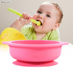Solid Feeding Dishes Baby Kids Silicone Sucker Bowl Dishes Slip Resistant Tableware  Infants Feeding Bowl