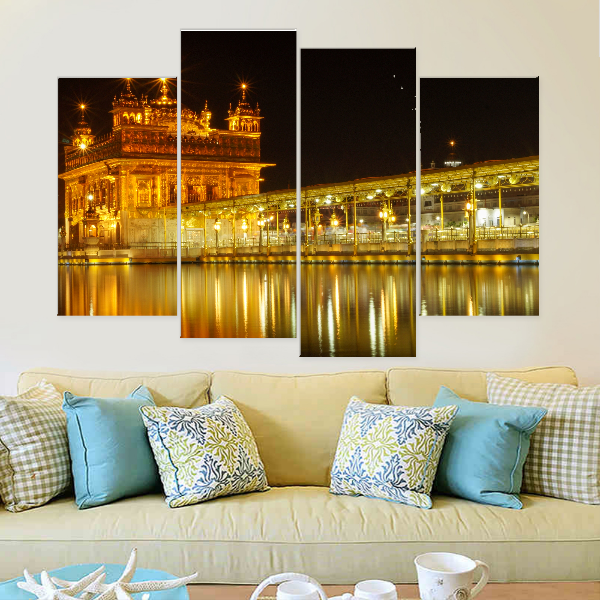 Golden Temple Amritsar At Midnight Canvas set - Canvasist