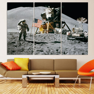 Astronaut with American Flag Canvas Set - Canvasist