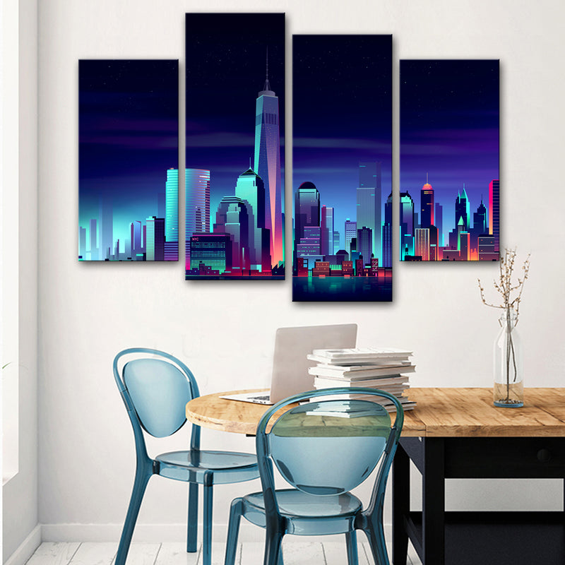 New York Neon City Canvas Set