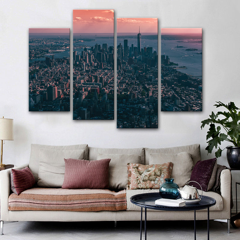 New York Birds Eye View Canvas Set