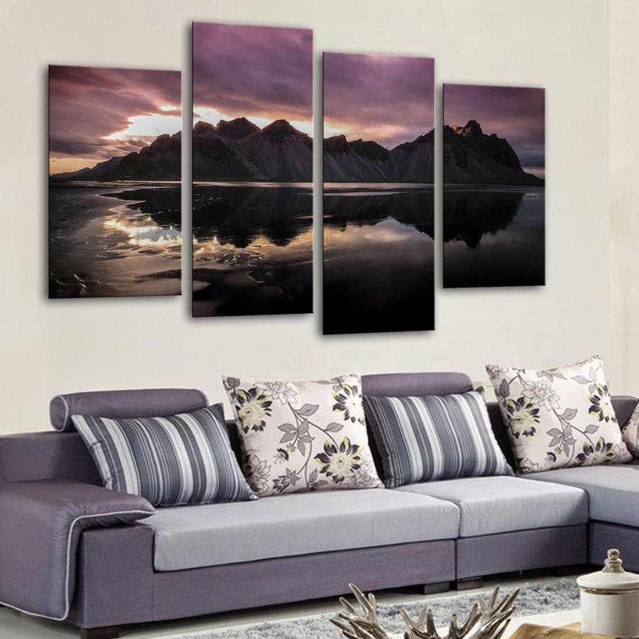 Optical illusion Black sand beach Canvas Set