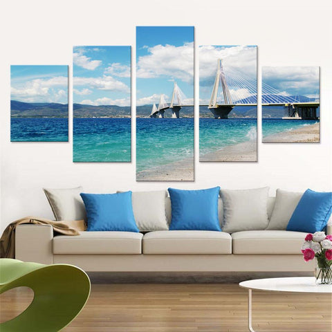 Bridge View from Beach Canvas Set
