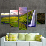 Waterfall during Sunset Canvas Set