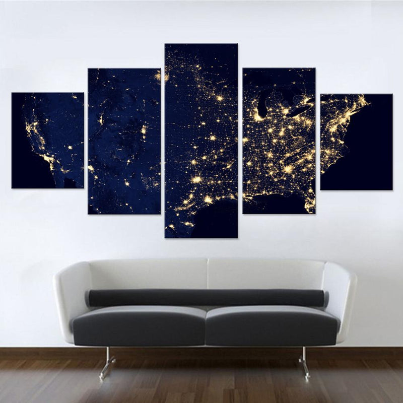 America from Outer Space Canvas Set - Canvasist