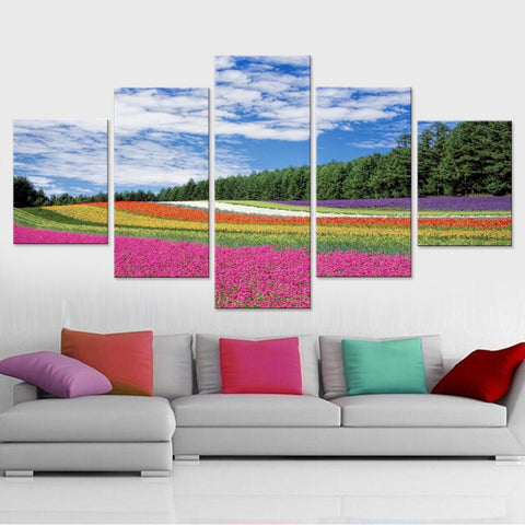 Flower Garden in Blue Sky Canvas Set