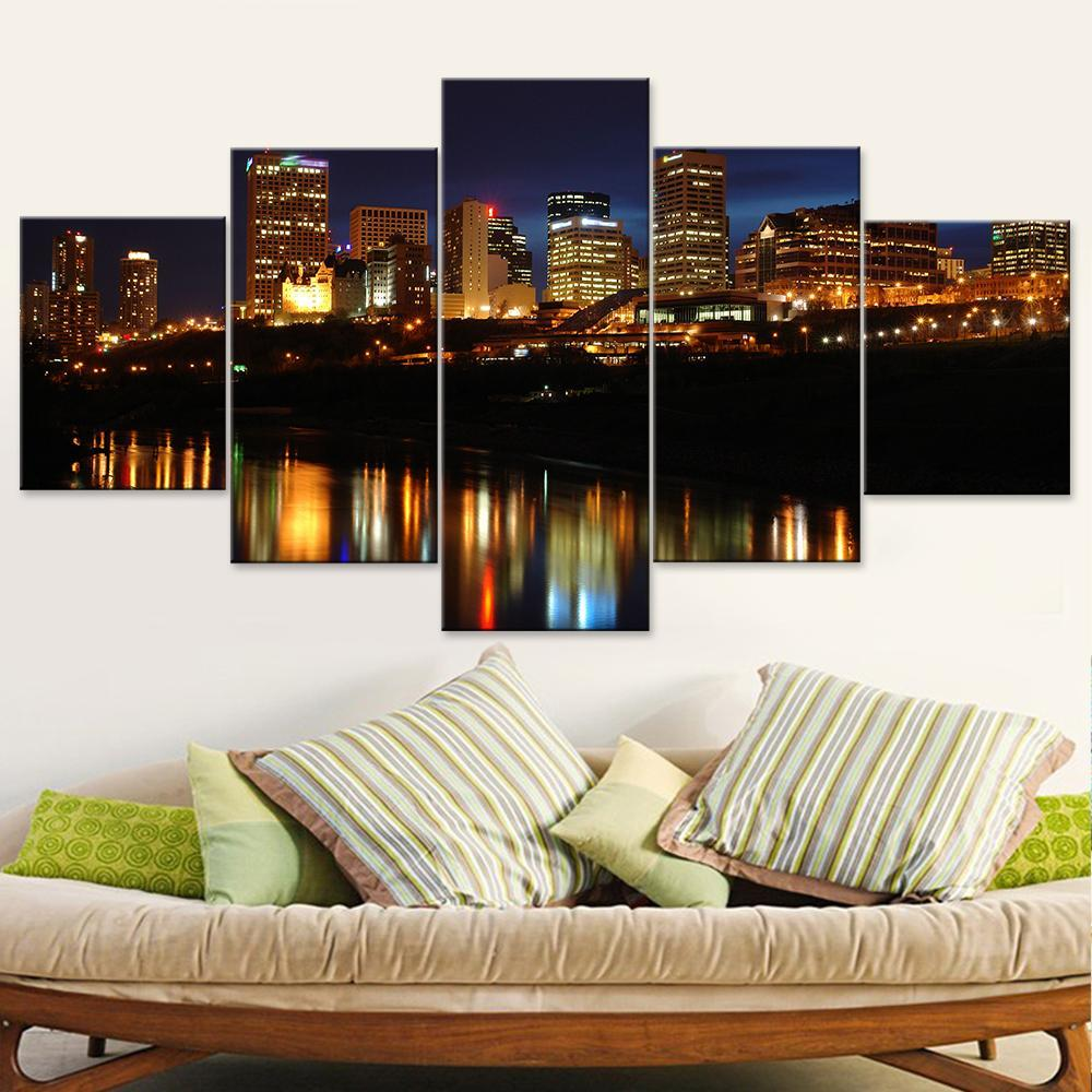 Edmonton City Lake View Canvas Set - Canvasist
