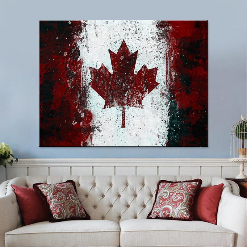 Vintage Canadian Flag Canvas Set