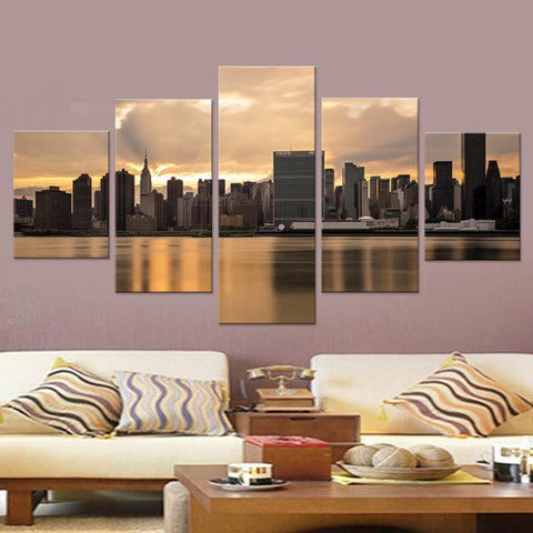 New York at Dusk Canvas Set