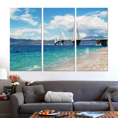 Bridge View from Beach Canvas Set - Canvasist