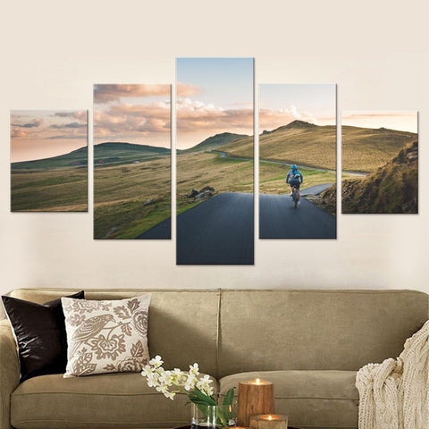 Cycling in the Mountains Canvas Set