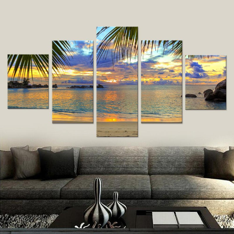 Tropical Beach Sunset Canvas Set - Canvasist