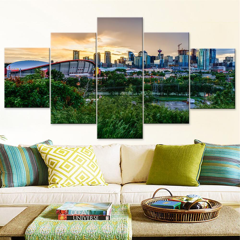 Calgary at Sunset Canvas Set - Canvasist