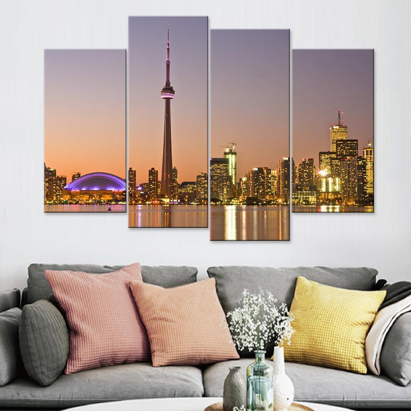 Toronto Skyline At Dusk Canvas Set - Canvasist