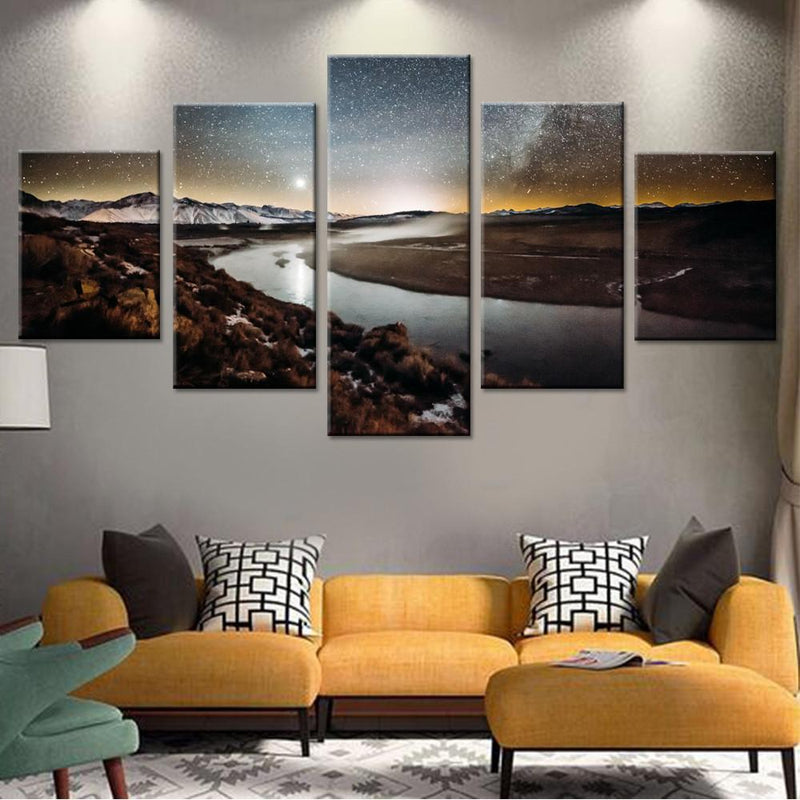 Stars Shinning on River Canvas Set - Canvasist