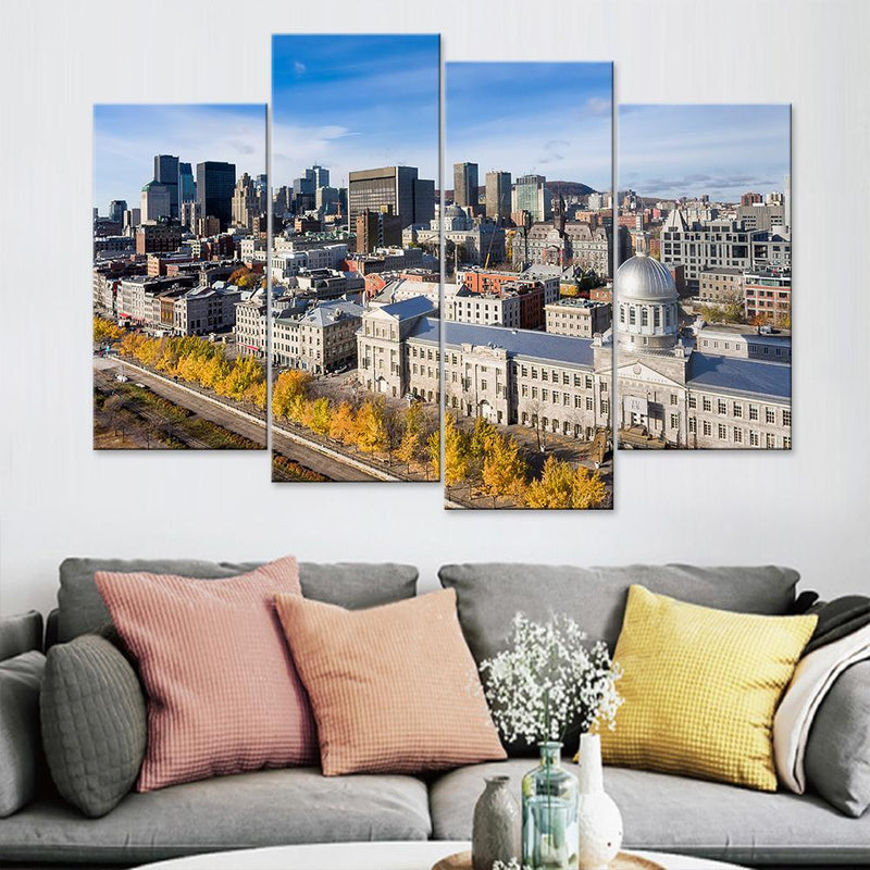 Montreal Skyscrapers Top View Canvas Set - Canvasist