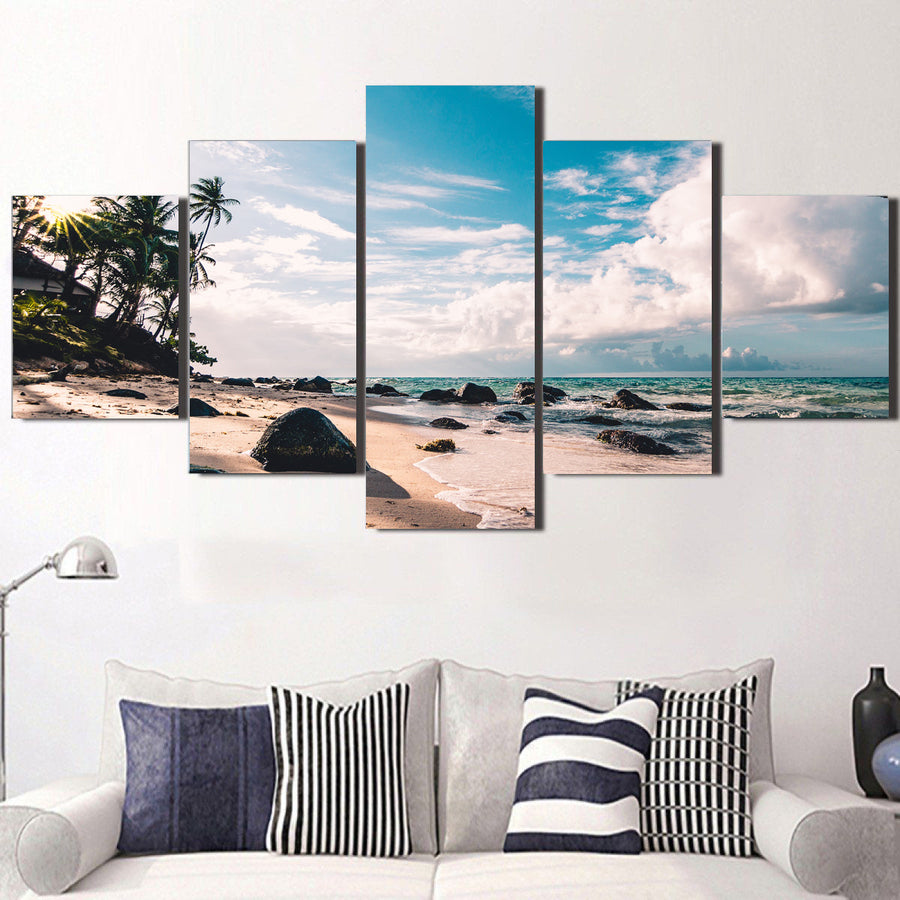 Beach Clouds Daytime Canvas Set - Canvasist