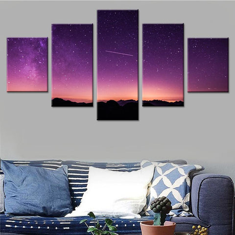 Beautiful Sky with a Shooting Star Canvas Set