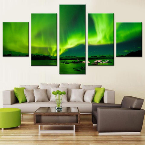 Green Aurora Skyline Canvas Set