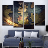 Game of Thrones Map Canvas set - Canvasist