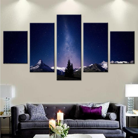 Milky Way above Mountains Canvas Set