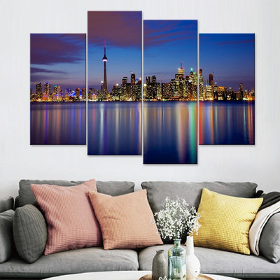 Toronto Skyline Lake View Canvas Set