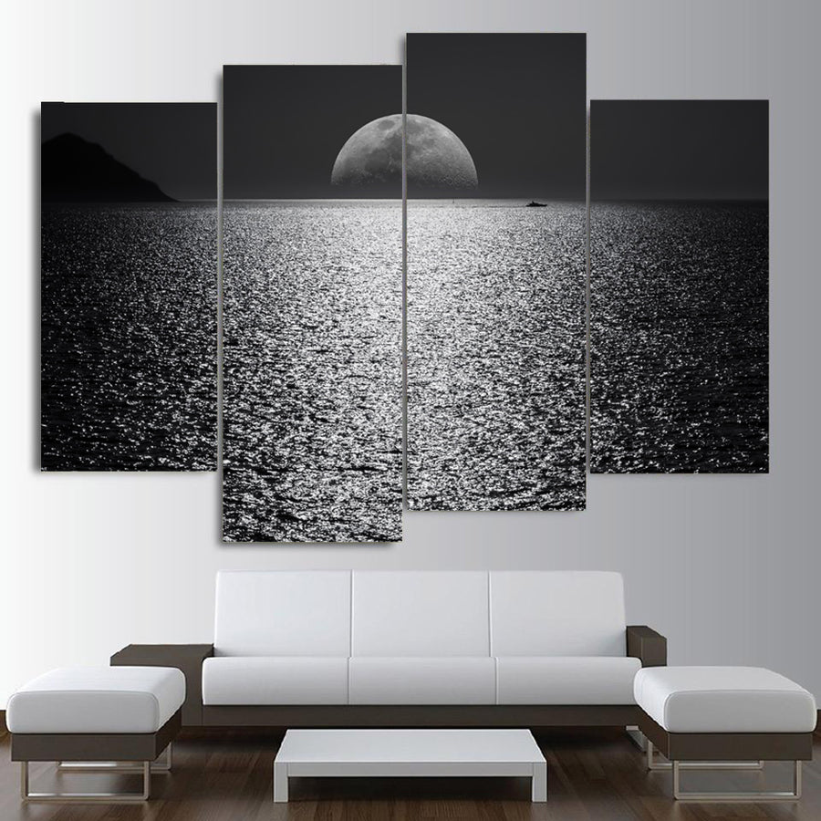 Black and White Boat Darkness Canvas Set - Canvasist
