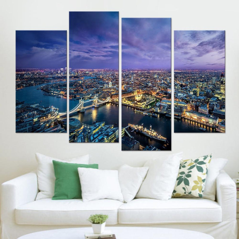 London City Aerial Shot Canvas Set - Canvasist