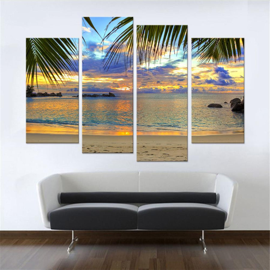Tropical Beach Sunset Canvas Set