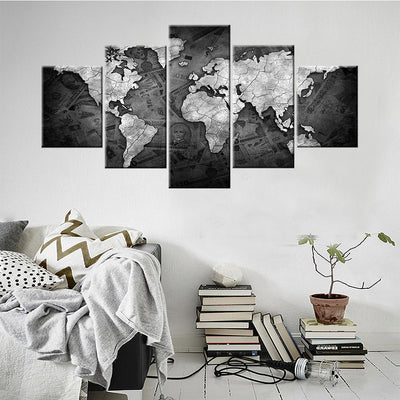 World Map in black & white Canvas Set - Canvasist